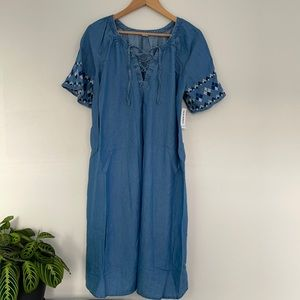Old Navy Maternity Chambray Dress w/Geo Detail M
